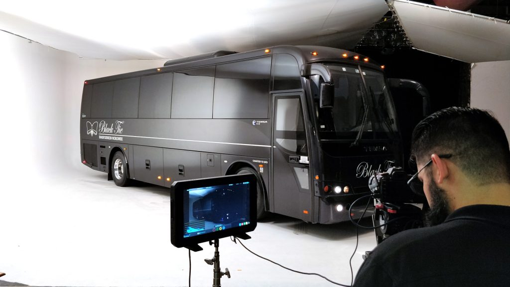 White screen studio for vehicle car bus photography and videography